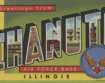 Illinois - Chanute Air Force Base - Large Letter Scenes (Art Print - Multiple Sizes Available)