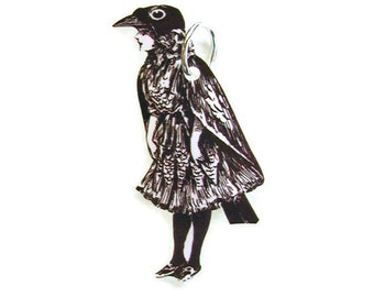 CROW GIRL Necklace Small Pendant Gifts for her