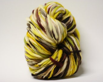 Hand Spun Thick and Thin Yarn Merino Bulky Self-striping Wool Slub  Hand Dyed tts(tm) U16003x