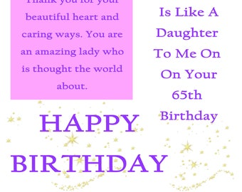 Like a Daughter 65 Birthday Card with removable laminate