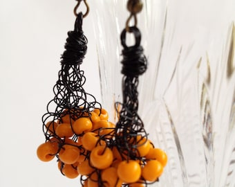Amber crochet earrings/ Copper Wire Earrings/ Dangle Earrings/ Halloween earrings/ Crochet Wire Jewelry/ Copper Wire/ Copper Earrings