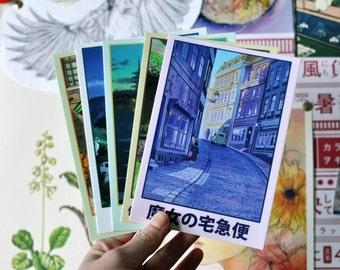 Studio Ghibli Postcard Package - 5 Postcards for Princess Mononoke, The Cat Returns, Kiki's Delivery Service, Arrietty, The Wind Rises