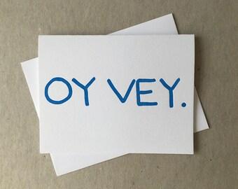 "Letterpress ""oy vey"" card (#JUD012)"