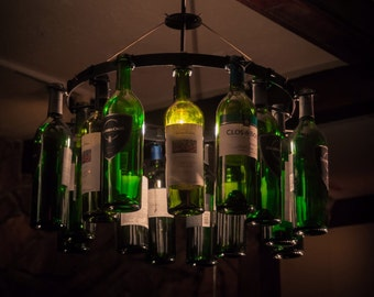 Bottle chandelier etsy wine bottle chandelier wine rack light lighting wine decor pendant style aloadofball Gallery