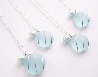 Sea Glass Bridesmaids sets - Light Aqua Blue - Glass Pearl - Other Colors Available - Earrings available - Weddings - affordable - seaside