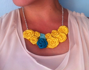 Yellow and Teal Statement Necklace