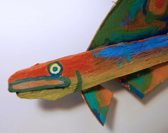 Hanging ORIGINAL Whimsical Fish Art - Recycled Painted Wood 11 inch Mixed Media Wall Hanging