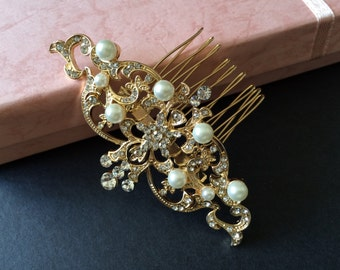 Victorian gold wedding hair comb, Bridal hair comb, Barrette clip, Vintage brooch, Silver vintage style hair accessory, wedding headpiece