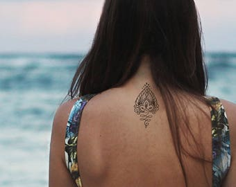 lotus tattoo / mandala fake tattoo / boho vintage flower tattoo / girly tattoo / big tattoo hipster girl festival temporary tattoo ornament