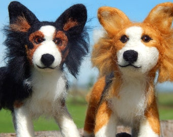Pair of Custom Needle felted Border Collie Sculpture - Dog Art - Custom Dog Sculpture  - medium size