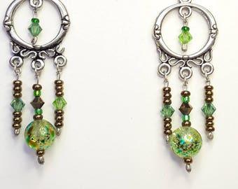 ethnic earrings green and bronze