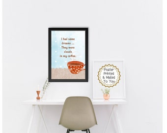 Coffee Cup Quote, 1970's, Rock Music, Instant Digital Download, Polka Dot, Wall Art Decor, Kitchen, Barista, Cafe, Printable, Cafe, Latte.