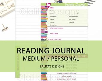 Printable Reading Journal Insert for Filofax Kikki K Personal Medium Size