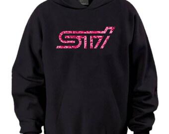 Sti Pink Camo Logo Black Hoodie Sweater Subaru Rally Impreza