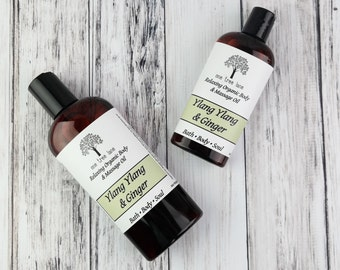 Organic Ylang Ylang & Ginger Massage Oil • 4 oz or 8 oz • Vegan Massage • Aromatherapy Oil • Relaxing • Calming •