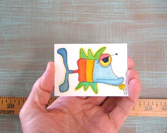 Fish-J74, Original ACEO Watercolor, Art Card, Miniature Painting, by Fig Jam Studio