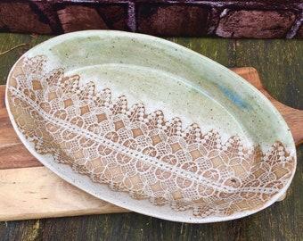 Oval Lace Imprint Platter
