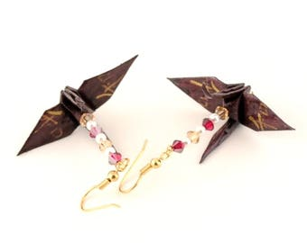 Harmony Kanji on Black Plum Origami Crane Earrings Gold Plated Hooks Jewelry