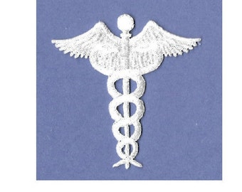 Caduceus - Medical - Nurse - Doctor - Scrubs - Iron On Applique Patch - CRAFT PROJECTS - White