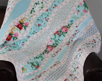 Lap, Baby, Quilt, Pink, Flowers, Blue, Stripe, Pink Ribbon