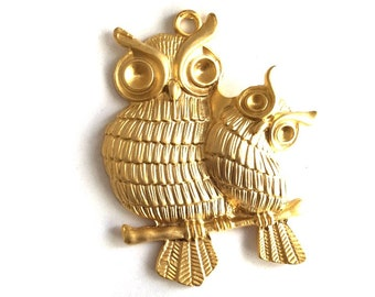 1pc -Matte Gold plated Huge OWL with baby owl Charm-80x60mm-(026-001GP)