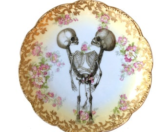 Vintage - Illustrated - Skull Plate - Skeleton Twins -  Wall Display - Altered Plate - Antique - Upcycled - Day of the Dead - Goth