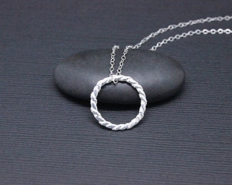Eternity necklace, sterling silver infinity circle necklace, karma necklace, simple necklace, Valentine's gifts for her
