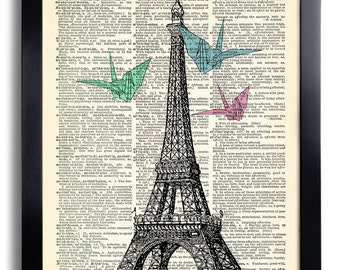 Paris Eiffel Origami Art Print Vintage Book Print Recycled Vintage Dictionary Page Collage Repurposed Book Upcycled Dictionary 068