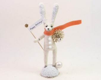 Vintage Inspired Spun Cotton White Snow Bunny Figure (MADE TO ORDER)