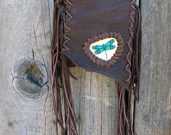 Leather crossbody bag , Beaded dragonfly handbag , Leather phone bag