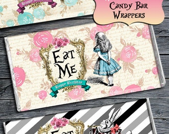 ALICE IN WONDERLAND Wrappers, Alice in Wonderland Party Decorations, Candy Wrappers, Candy Bar, Alice Birthday Party, Alice Instant Download