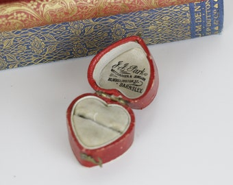 Antique Ring Box Heart Shaped Red Leather