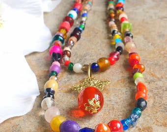Multicoloured mix beaded necklace