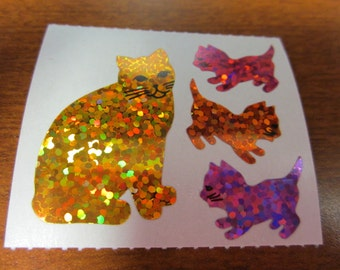 Vintage Hambly Sparkle Prismatic Kitty Cat Stickers