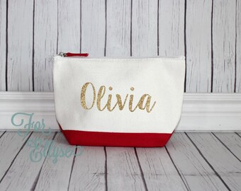 RED Color Dipped Canvas Cosmetic bag - Bridesmaid gift - Personalized