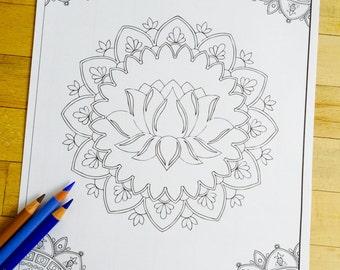 "Mandala ""Lotus Zen"" - Hand Drawn Adult Coloring Page Print"
