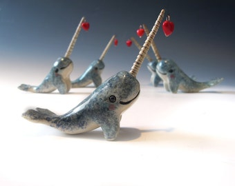 Narwhal Love - Hand sculpted ceramic figurine with Heart
