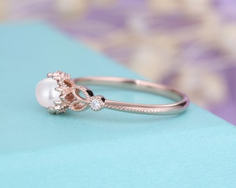 Pearl engagement ring Rose gold Vintage engagement ring Women Diamond Antique Milgrain Bridal Jewelry Anniversary Mothers day gift for her