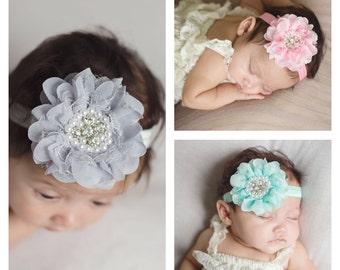 Baby headbands - bling flower headband - lace headband - infant headband - baby hair band - headband - girls headband - flower headband