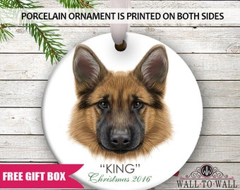 German Shepherd Dog Breed Personalized Christmas Holiday Ornament Custom Porcelain Ceramic Pet  Ornament Gift Idea for Dog Lovers