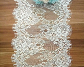 Ivory Lace table runner , lace table runner,  12 inches wide, Wedding Decor, Overlay, Tabletop Decor, Centerpiece,  table runners for event