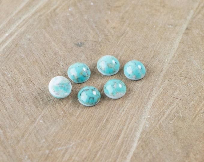 Turquoise Matrix Glass Cabochons 7mm (6) cab701M