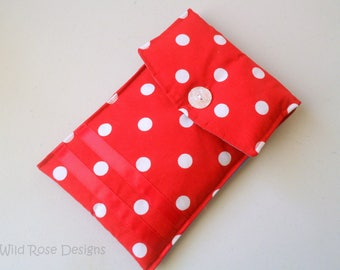 Red and white spotted kindle cover. Kindle case.
