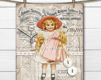 Digital French Button Card Printable, Girl with Buttons, Cat, Doll, Vintage Sewing, French Ephemera, Lace Button Card