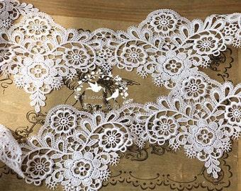 off white lace trim, bridal lace trim, venise lace trim, vintage lace, scalloped lace, wedding trim lace, crocheted floral lace, venise lace