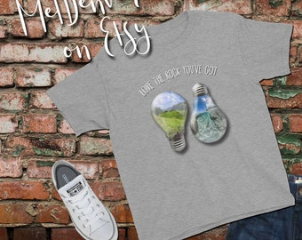 "Youth Short Sleeve T-Shirt ""Love the rock you've got"" Earth Day 2018 t-shirt for the budding activist! teach them to love the environment!"