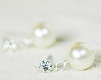 Set of 5 Anna - Simple, Elegant Pearl Sterling Bridal Earrings Wedding Bridesmaids Jewlery Evening