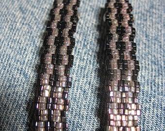 Baby Pink & Purple Metallic Toho 1.5 mm CUBE Beaded Stripe Barrettes....set of 2 Medium Size....hand made OOAK Original Design #946h