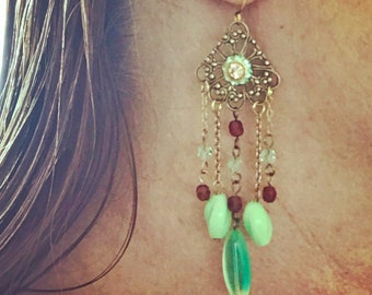 Brass filigree chandelier earrings with mellow green and cranberry red dangles AT031818