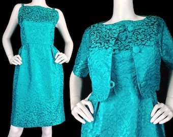 Vintage 60s Dress Set small med, Jackie O Style Dress, Teal Jacquard Dress, Mad Men Dress, 1960s Cosplay, Dress and Crop Jacket, S M 4 6 8